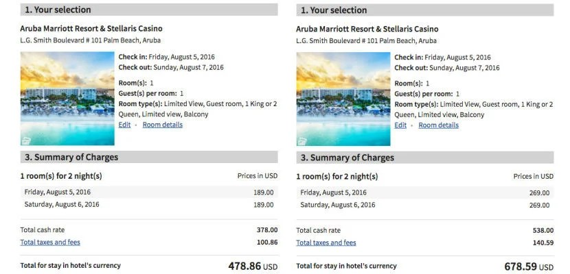 You'll save $100 per night (after taxes) in Aruba.