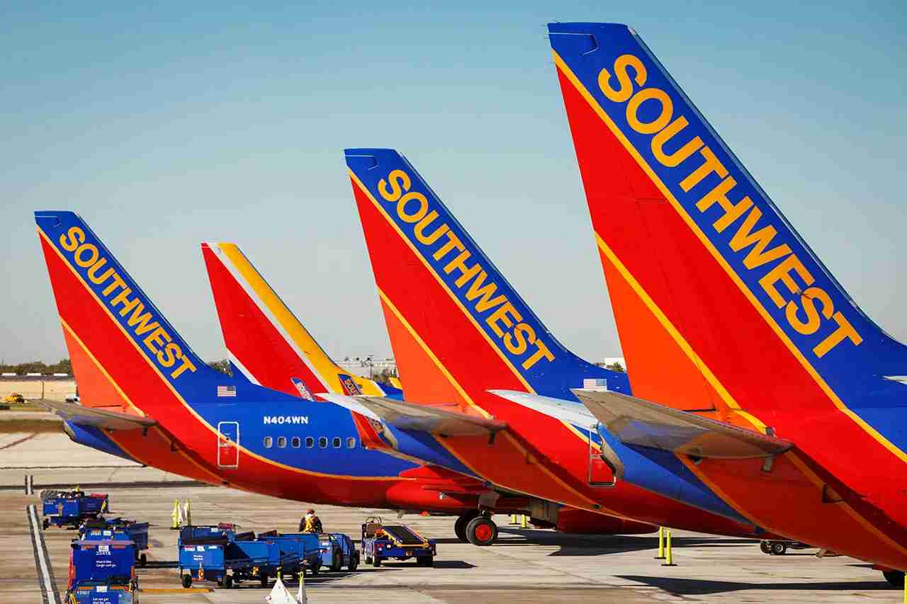 Southwest Airlines Boeing 737 planes prepare for takeoff at William P. Hobby international airport in Houston Texas, on November 18, 2015. (Photo by John Gress/Corbis via Getty Images)