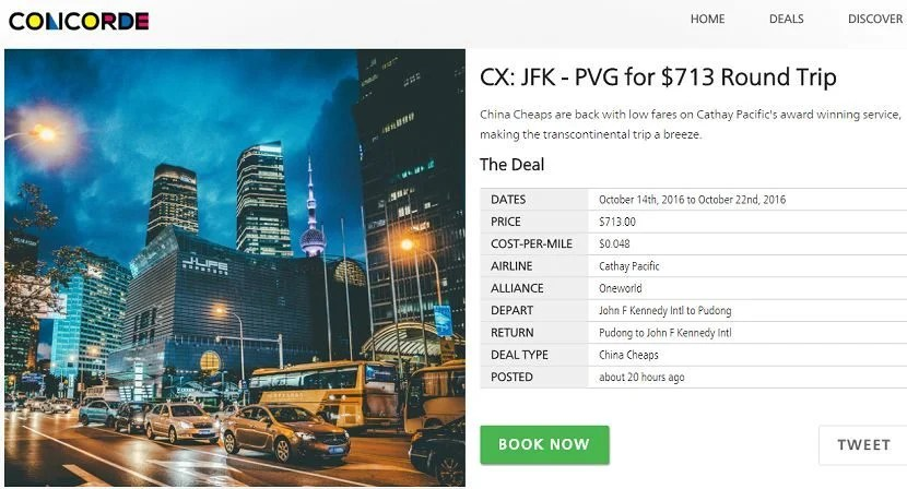 Clicking on any flight deal will give you a page with further details.