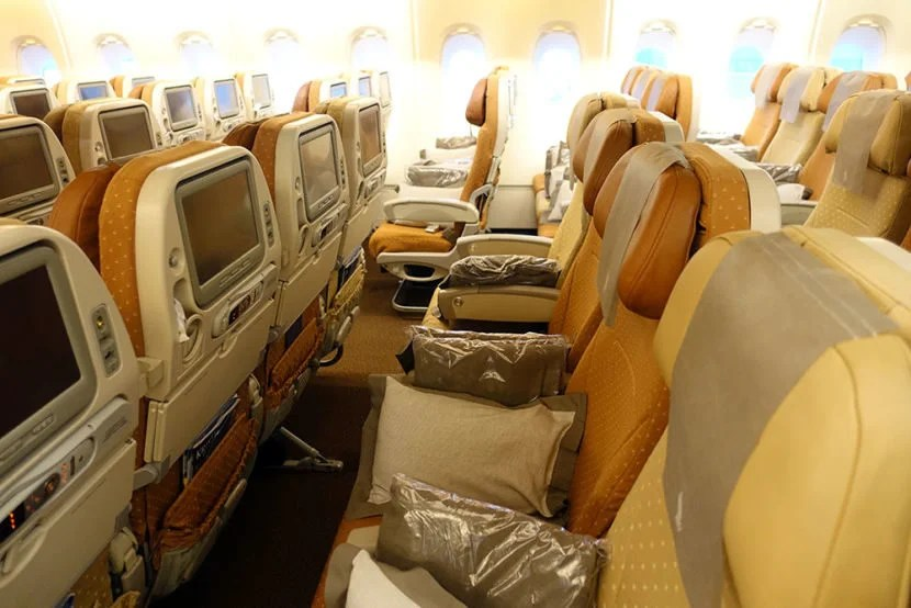 One of the sections in the economy cabin.