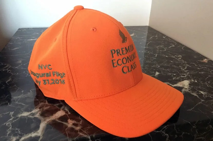 The orange cap was a nice takeaway in honor of the inaugural flight.