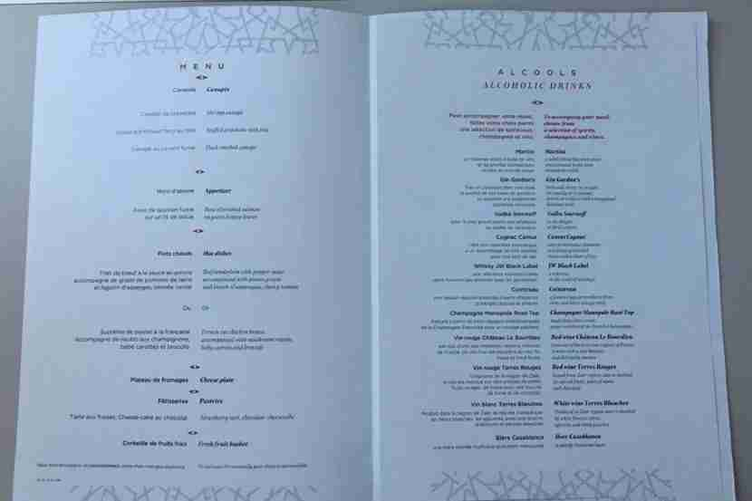Royal Air Maroc Menu for Business class.
