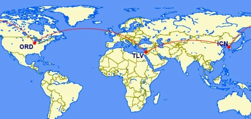Stop in the Middle East on the way to North Asia for no additional mileage cost!