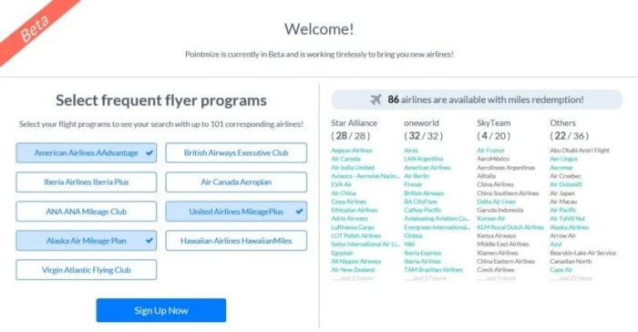 Pointimize supports 9 most frequently used airline reward programs