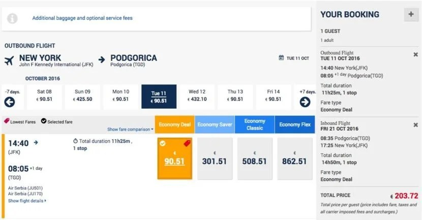 New York (JFK) to Podgorica (TGD) for $227 round-trip on Air Serbia.
