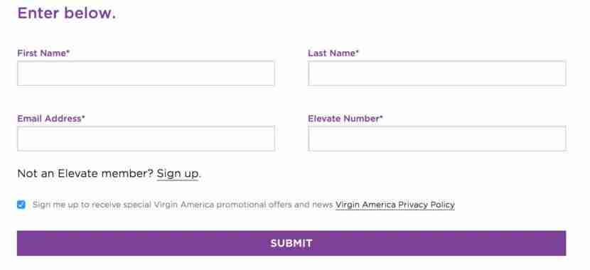 Simply enter your Virgin America Airlines information to enroll.