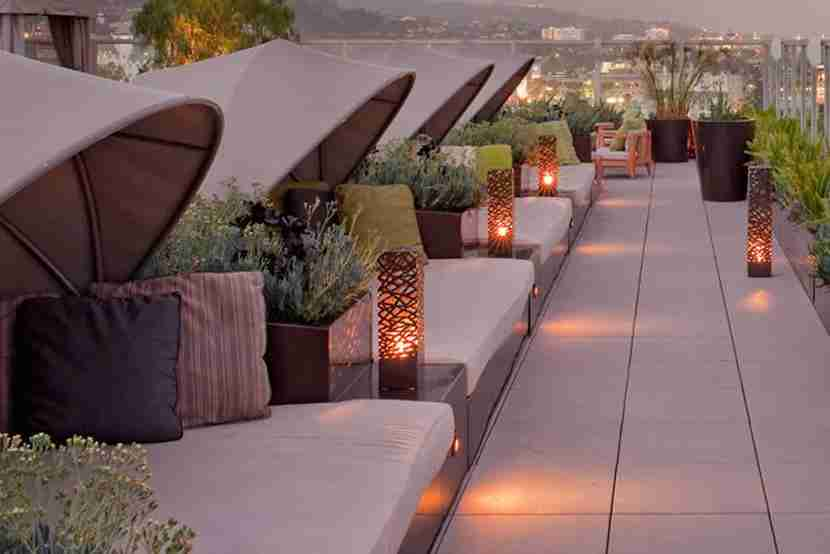The sundeck offers cabanas to relax in and views overlooking the city. Image courtesy of the Andaz West Hollywood.
