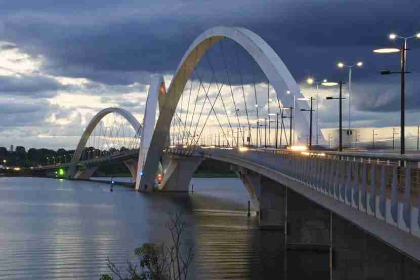 "Fly from Miami to Brasília, the capital of Brazil. Image courtesy of <a href=""http://www.shutterstock.com/pic-136797197/stock-photo-juscelino-kubitschek-bridge-in-brasilia-brazil-at-sunset.html?src=CsnwgHlXcsLSIvSd_wOeMA-1-4"">Shutterstock</a>."
