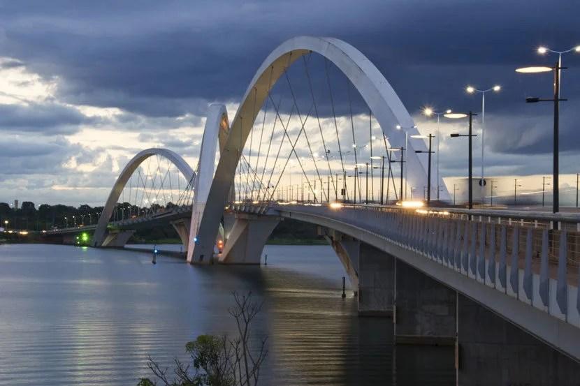 "Fly from Miami to Brasília, the capital of Brazil. Image courtesy of <a href=""http://www.shutterstock.com/pic-136797197/stock-photo-juscelino-kubitschek-bridge-in-brasilia-brazil-at-sunset.html?src=CsnwgHlXcsLSIvSd_wOeMA-1-4"">Shutterstock</a>."