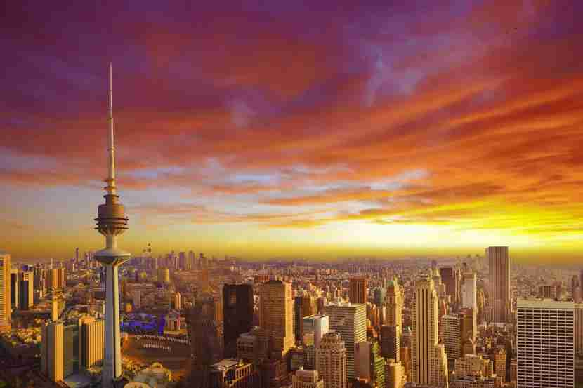 """Kuwait City has some of the hottest temperatures on earth. Image courtesy of <a href=""""http://www.shutterstock.com/pic-195743102/stock-photo-kuwait-cityscape-during-the-sunset.html?src=cwNp95BAFki5KYFvSobPVQ-1-6"""" target=""""_blank"""">Shutterstock</a>."""