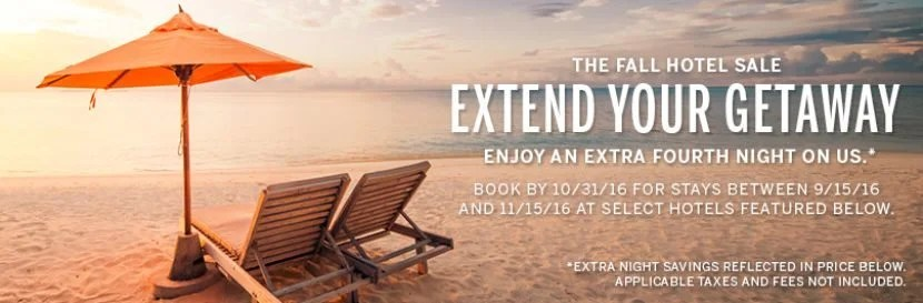 Amex Travel is offering a fourth night free offer at certain hotels. Image courtesy of AmexTravel.com.