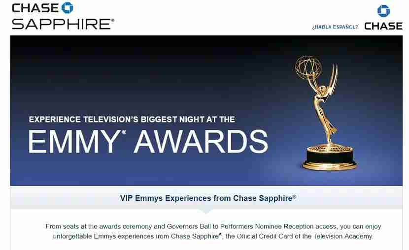 Chase Sapphire is the official sponsor of the Television Emmy awards.