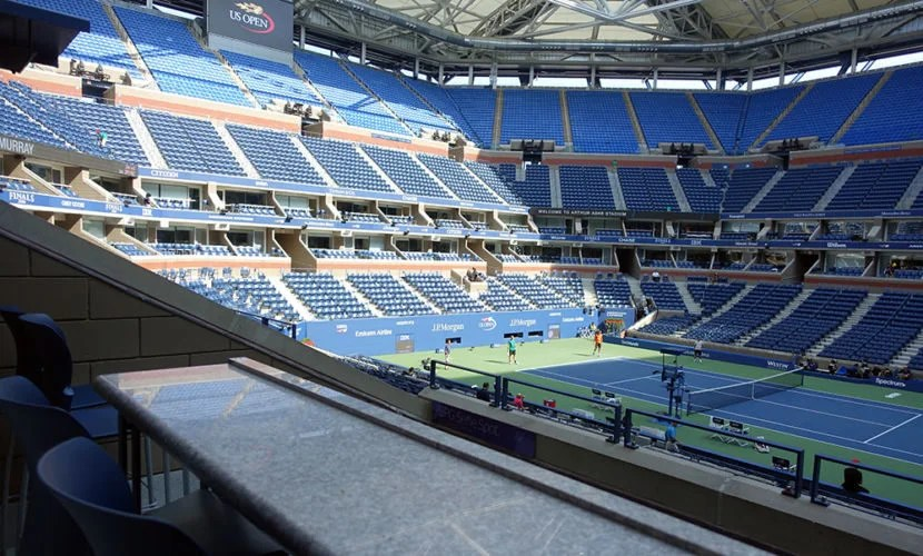 Watching the men's doubles players warm up in a nearly-empty Arthur Ashe Stadium was a neat experience.