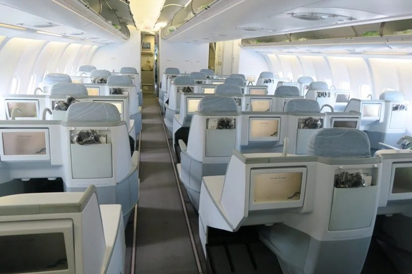 View of the business class cabin at boarding.