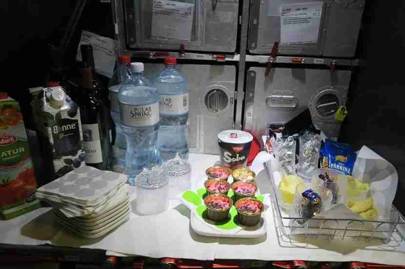Some snacks were available in the galley between meals.