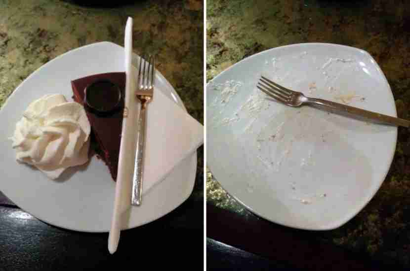 The famous Sacher Torter -- before and after.