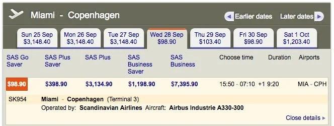 Miami (MIA) to Copenhagen (CPH) for $99 one-way on SAS.