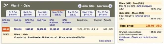 Miami (MIA) to Oslo (OSL) for $225 round-trip on SAS.