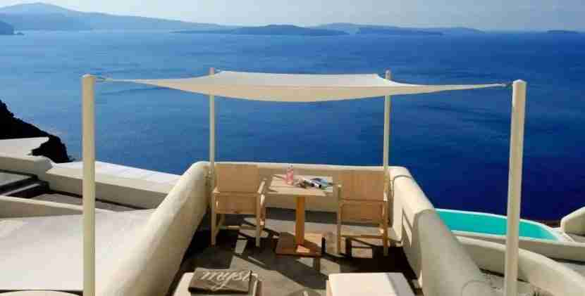 Enjoy incredible views of the Aegean Sea from Mystique on Santorini.