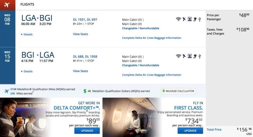 New York (LGA) to Barbados (BGI) for $157 round-trip in February.