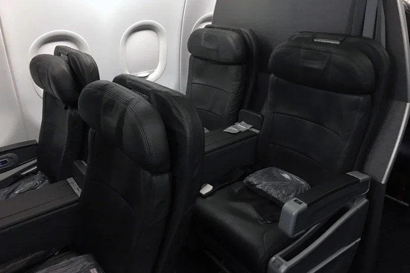A peek at our seats in first class on the Airbus A319.