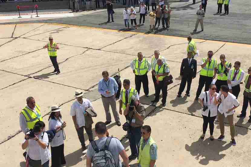 Cuban media waited outside the plane to capture our reactions upon landing in Cuba.