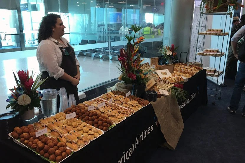 DeliciousCuban foodawaited us at the gate to help us celebrate theinaugural flight.