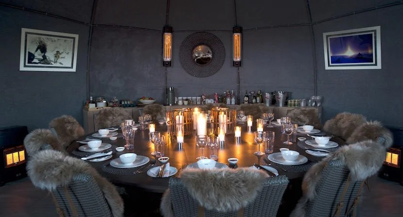 The dining room, complete with fur throws to keep guests warm, recently got an upgrade. Image courtesy of White Desert Antarctica.
