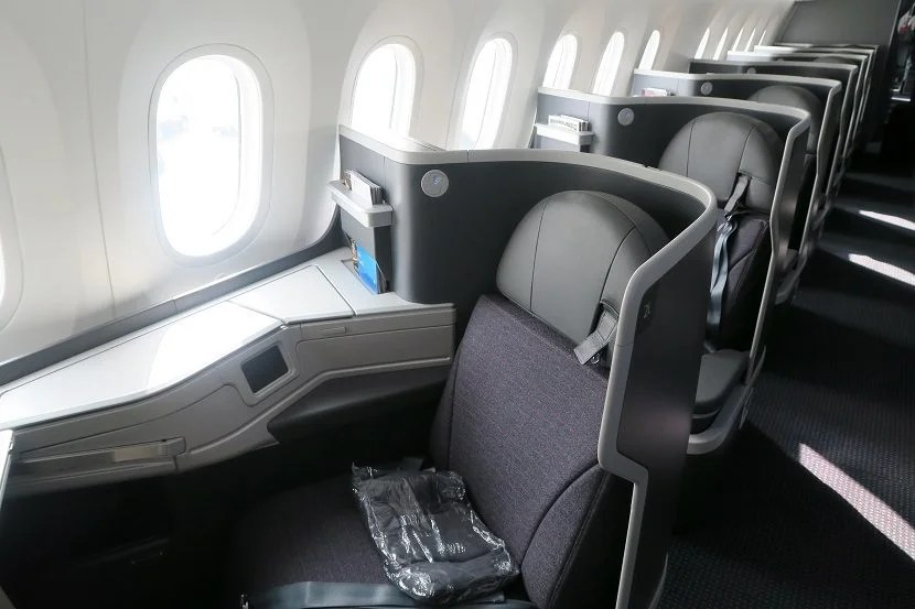 The leftside window business class seats on the 787-9 Dreamliner.