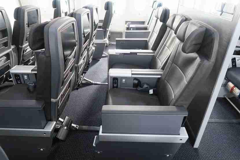 The premium economy seats have plenty of legroom.