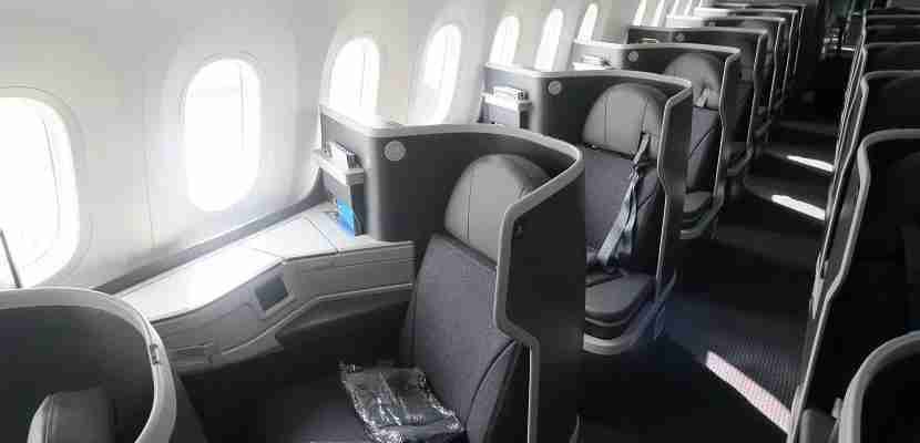 The newest AA business-class seat aboard the 787-9.