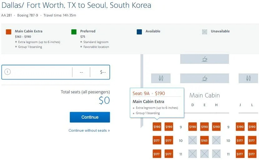 The premium economy cabin is wide open on the inaugural flight from DFW-ICN, but it's going to cost you quite a bit if you don't have status.
