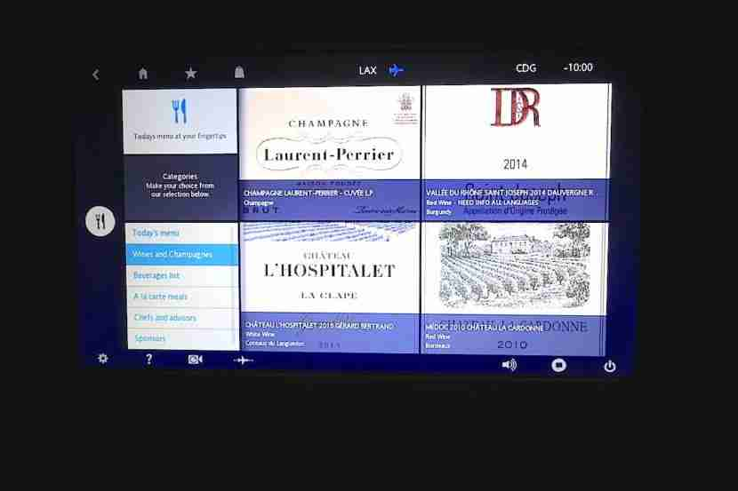 Perusing the wine list on the IFE.