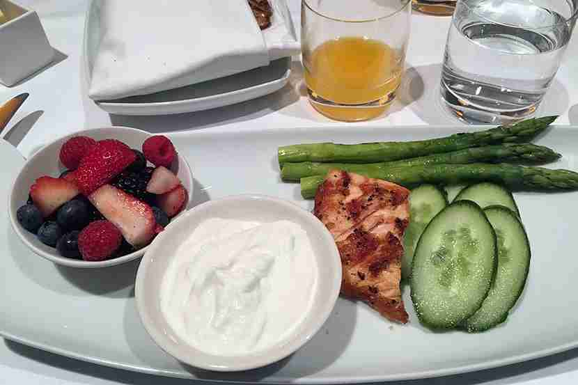 Our east meets west breakfast: yogurt, berries, smoked salmon, grilled asparagus.