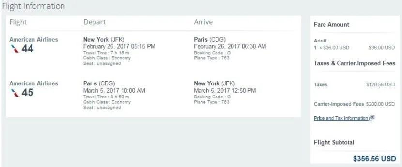 New York's JFK to Paris (CDG) for $357 round-trip.