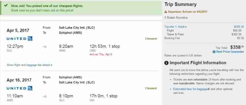 Salt Lake City (SLC) to Amsterdam (AMS) for $358 round-trip