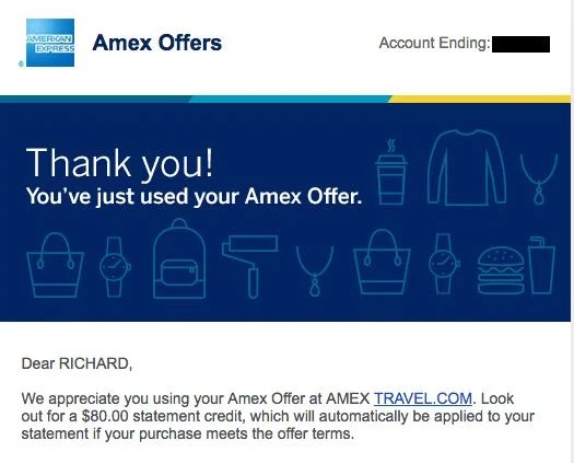 I saved $80 by booking a hotel through Amex Travel.