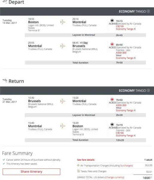 Boston (BOS) to Brussels (BRU) for $445 round-trip on Air Canada.