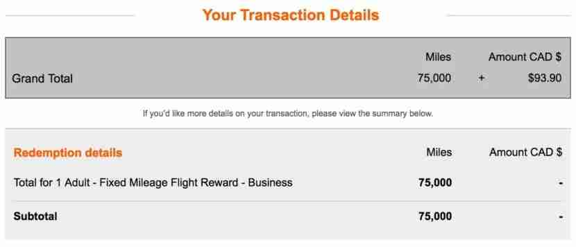 Each one-way ticket cost 75,000 miles transferred from Amex Membership Rewards to Aeroplan.