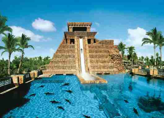 The famous six story drop through the shark tank at Atlantis. Image courtesy of Atlantis.