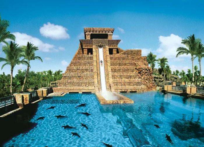 The famous six story drop through the shark tank at Atlantis. Image courtesy of Atlantis.