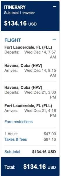 FLL to HAV for $134 round-trip economy