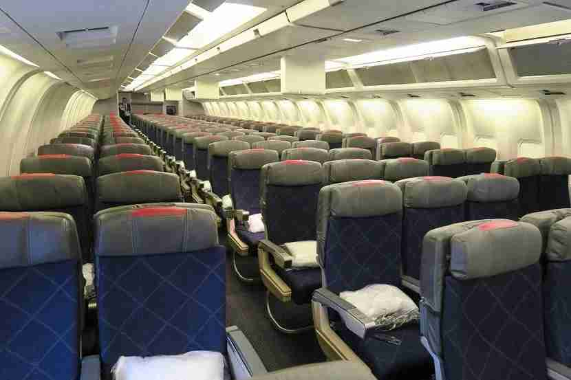 The main economy cabin, featuring a 2-3-2 arrangement.