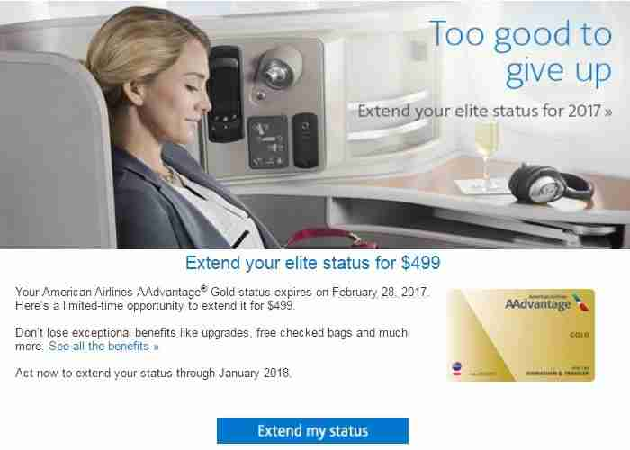 One offer to extend AAdvantage Gold status for $499.