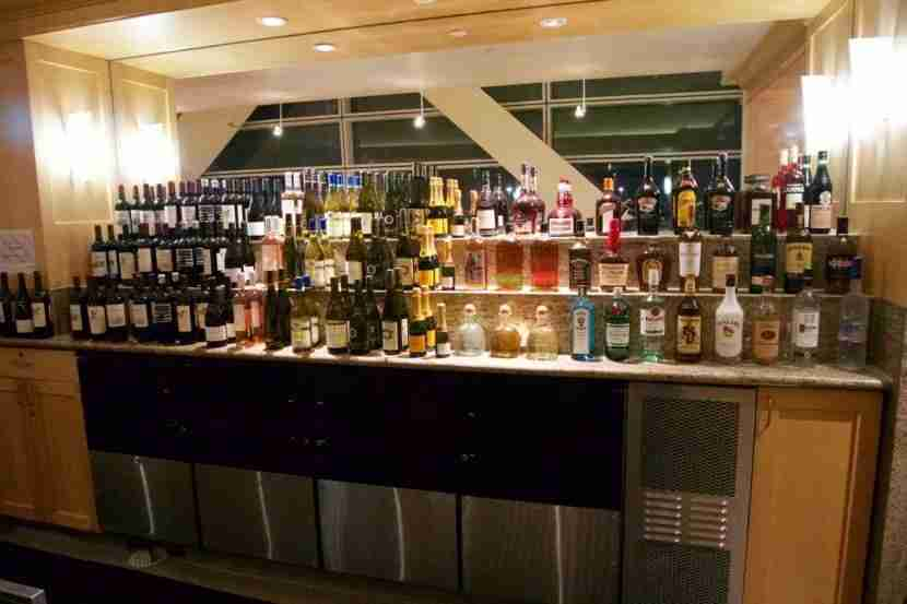 Well-stocked bar at the United Club SFO
