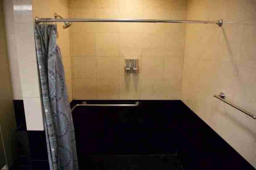 Large shower area at the SilverKris Lounge SFO