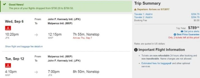 New York (JFK) to Milan (MXP) for $790 round-trip for two in September via Expedia.