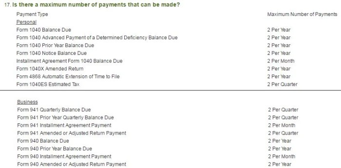 Each taxpayer is allowed two payments per period. Image courtesy of Pay1040.com (cropped for brevity).