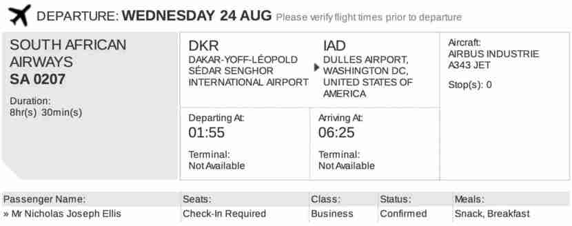 Reservation confirmation from Etihad.