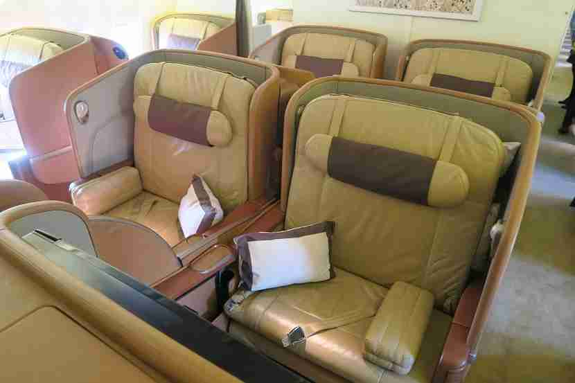 The small, but luxurious Singapore Airlines first class cabin.